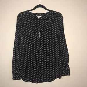 Candie's size XL dress shirt, black print, EUC.